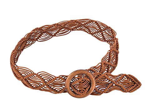 Qingsun Women Bohemian Wood Wide Waist Belt Braided Belt With Dress and Sweater Knotted Decorated Brown (Buckle Knotted)
