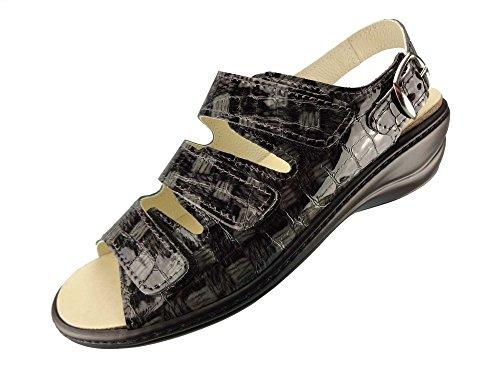 Algemare Damen Sandalette Blei Kroko Keilpantolette mit Algen-Kork Wechselfußbett Made in Germany 2317_2714, Größe:37
