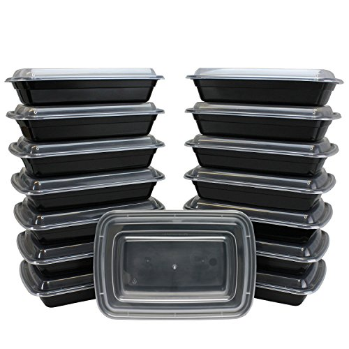 The 1 Black Plastic Microwavable/Freezable/Dishwasher Safe Reusable Meal Prep Food Container with Lid Single 1 Compartment Lunch Boxes [50 COUNT] (28oz.) 1 Compartment Container