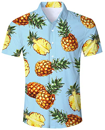 ALISISTER Hawaiian Dress Shirt Mens Tropical Button Down Shirts Quick Dry Blouse 3D Printed Aloha Adult Beachwear Party Navy L