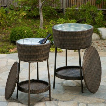 Bon Patio Ice Bucket 2 Piece All Weather Outdoor Ice Bucket Set
