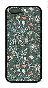 G Illustrator Flower Cover Case Skin for iPhone 5 5S Soft TPU Black