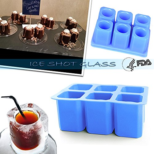 DiDaDi [2 Pack]Silicone Ice Shot Glass Mold,6-cups Square Blue Ice Cube Tray,Jelly Tray ,Cake Cup Mold ,Food Grade Silicone Ice Shot-Blue (Glass Ice Shot)