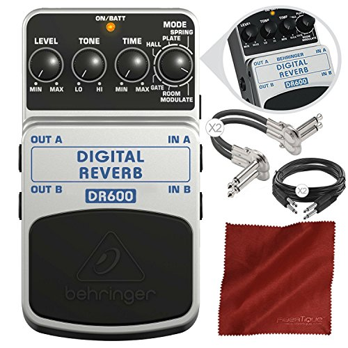 Behringer DR600 Digital Reverb Stompbox Pedal and Accessory Bundle by Photo Savings