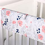 Coral Pink and Navy Blue Floral Print Padded Crib Rail Guard by The Peanut Shell