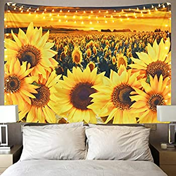 Krelymics Sunflower Tapestry Sunset Sunflower Field Tapestry Floral Plant Tapestry Yellow Flower Tapestry for Room