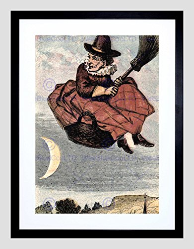 (Painting Witch Halloween Spooky Black Frame Framed Art Print Picture)