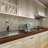 Peel and Stick Tile Backsplash for Kitchen Bathroom,Shiny Mosaic Marble Tiles(6 Tiles)