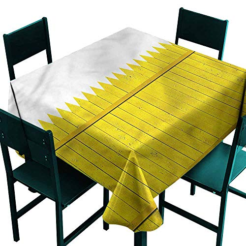DONEECKL Wrinkle Resistant Tablecloth Yellow Wooden Picket Fence Washable Tablecloth W36 xL36 ()