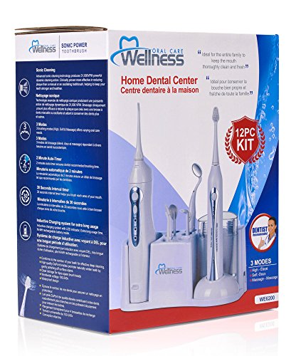 Wellness Oral Care Home Dental Center with Rechargeable Ultra Sonic Toothbrush, Irrigator Water Flosser, 8 Attachments, Lighted Mirror and Countertop Base (WE6200) Photo #6