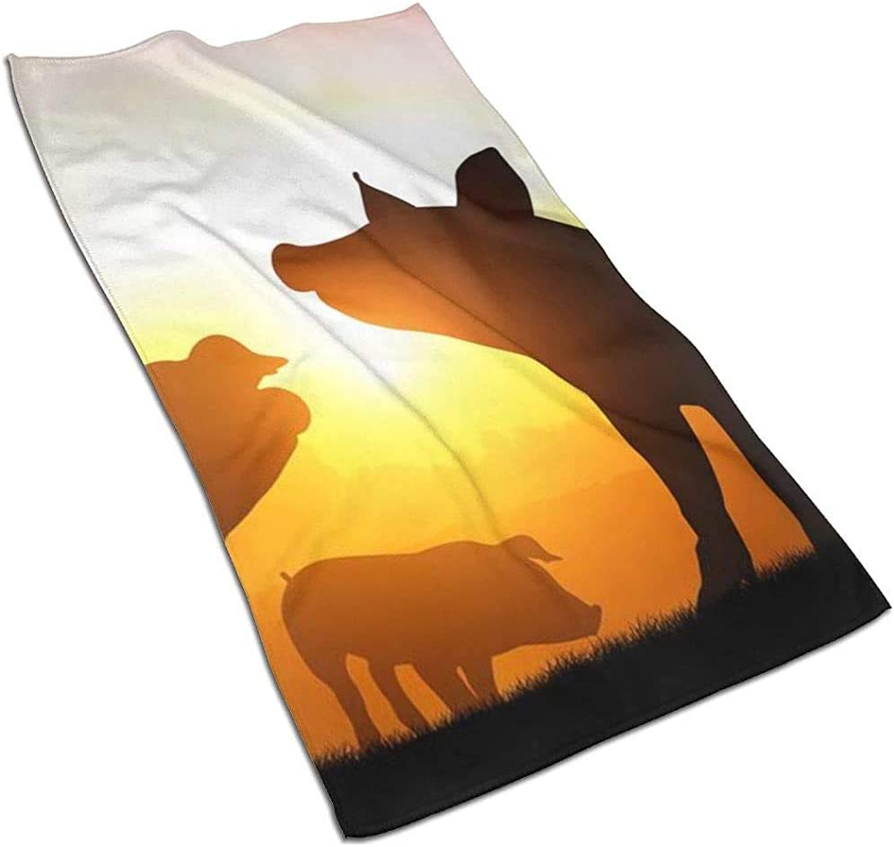 BI HomeDecor Serviettes De Bain,Coucher De Soleil Silhouette De Serviette De Plage De Cochon Serviettes De Bain pour Femmes Imprim/ées Impressionnantes pour Le Sport Gym Running,40x70cm