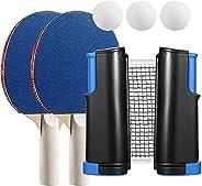 Anywhere Portable Ping Pong Set,Table Tennis Set with Retractable Net,with Ping Pong Net for Any Table