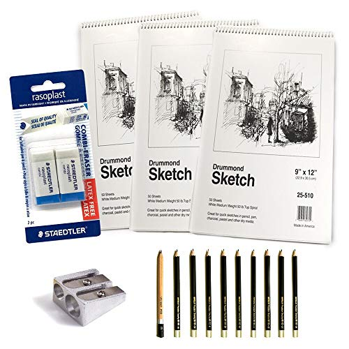 Deluxe Art Set Includes 3 Sketchbooks 150 Sheets total 10 Premium Pencils 1 Pink Eraser and 1 Single Hole Sharpener For The Ultimate Paper Kit (1 pck Drawing Set w/ 1 Staedtler Mars slide eraser) by mCasting