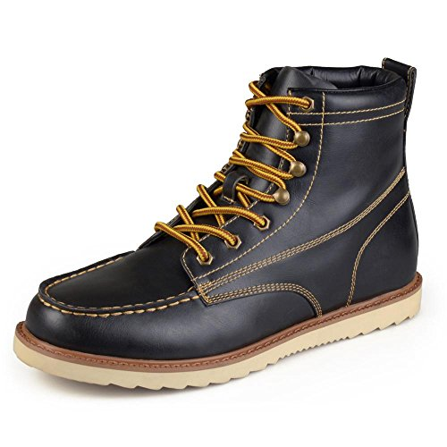 Vance Co Mens Faux Leather Lace-up Moc Toe Work Boots Black free shipping find great fZzck