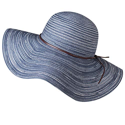 (Wide Brim Floppy Sun Hat 100% Cotton Packable Summer Beach Hats for Women)