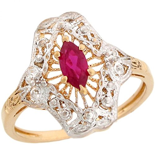 Estate Ruby Ring - 10k Two-Tone Gold Vintage Estate Style Simulated Ruby Ring with CZ