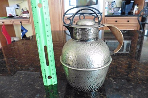(Vintage Apollo Bernard Rice's Sons EPNS Bamboo Handle Creamer Pitcher oil teapot)