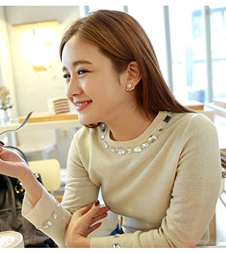 High-Season Korean Fashion Imitation Pearl Earrings Small Daisy Flowers Hanging After Senior Female Jewelry (Ugg Boots Rhinestone)