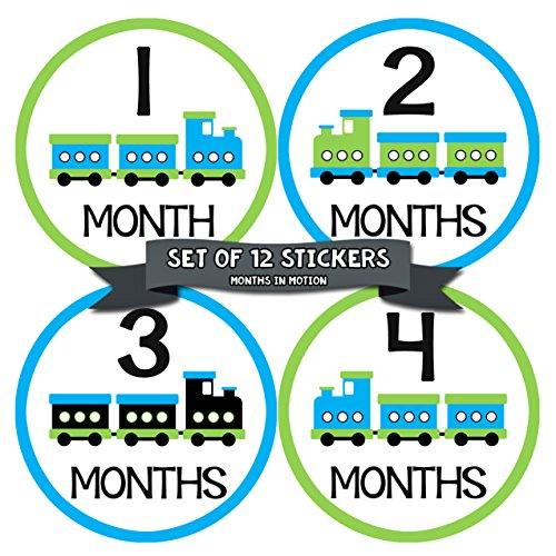 - Months In Motion Baby Boy Monthly Baby Milestone Stickers | Onesie Month Sticker | Infant Photo Prop for First Year | Shower Gift | Newborn Keepsakes | Train | Style 043
