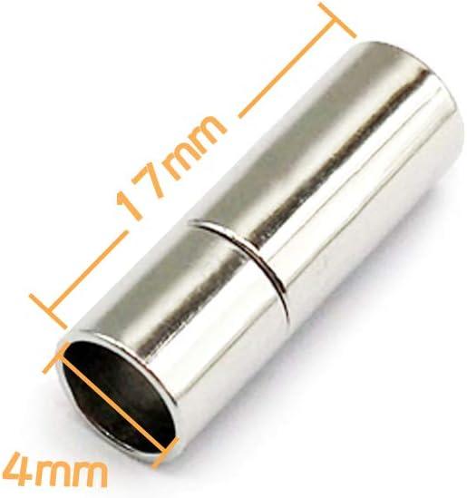 Negro, 4mm Empuje Cierres Para Cuero Cuerda Collar Pulsera Hebilla MOAMUN 20 PC Cable Tapones Para Joyero