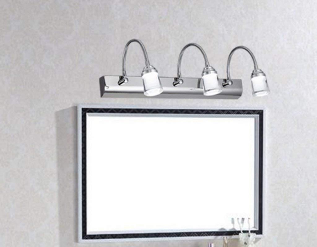 FXING Spiegel vorne Licht LED Badezimmer Badezimmer einfach Edelstahl rost Spiegelschrank Lampe wc Schminkspiegel Wandleuchte (Größe  Threehead)