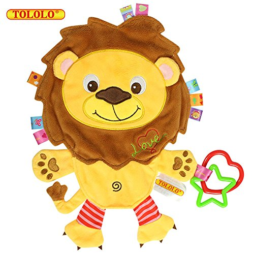 TOLOLO Cartoon Animals Plush Toys Baby Sleeping Toys Newborn Children to Appease Towel Cloth Can Bite (Lion)