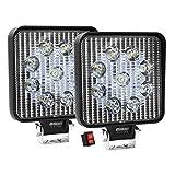 Par de Faros de LED diseño Cuadrado con 27w de Luz Concentrada Blanca con 9 leds tipo 3030