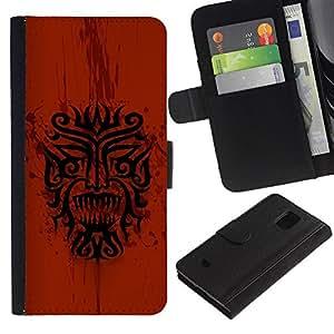 Samsung Galaxy S5 Mini / SM-G800 (Not For S5!!!) , la tarjeta de Crédito Slots PU Funda de cuero Monedero caso cubierta de piel ( Dragon Tribal Indian Native Red Pattern)