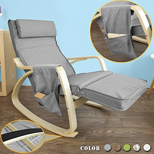 haotian comfortable relax rocking chair chair recliners with adjustable footrest u0026 side pocket dark greyfst18dg