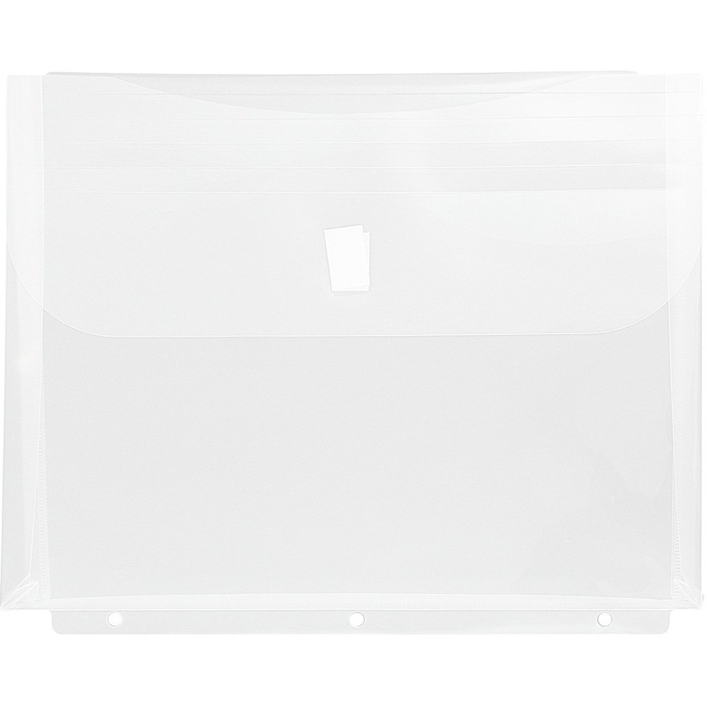 JAM Paper Plastic Binder Envelopes with Hook and Loop Closure & 3 Hole Punch - 1'' Expansion - Letter Booklet - 9.5'' x 1.25'' x 11.25'' - Clear - 12/pack