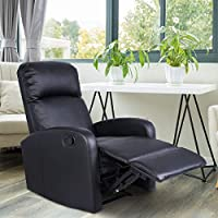 EZ FunShell HW51431 Black PU Leather Chair Recliner Sofa