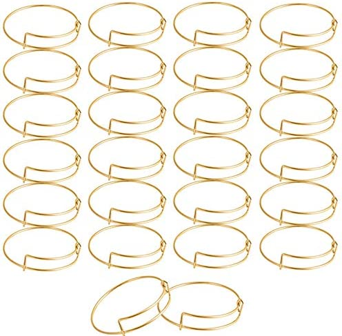 Minelife 25 Pcs Expandable Bangle Bracelet, Adjustable Wire Blank Bracelets for Women Jewelry DIY Making(Gold)