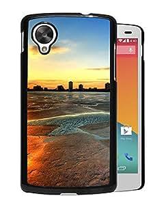 New Beautiful Custom Designed Cover Case For Google Nexus 5 With Sunset City River Bridge Phone Case
