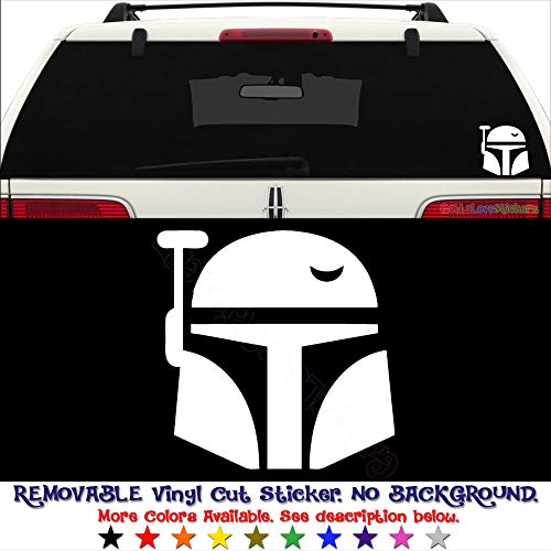 Boba Fett Without Mask (GottaLoveStickerz Boba Fett Helmet Mask Removable Vinyl Decal Sticker for Laptop Tablet Helmet Windows Wall Decor Car Truck Motorcycle - Size (20 Inch / 50 cm Tall) - Color (Matte)