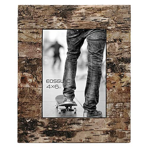 Eosglac Rustic 4x6 Wooden Picture Frame, Handcrafted with Real Birch Bark, Easel Back, Natural