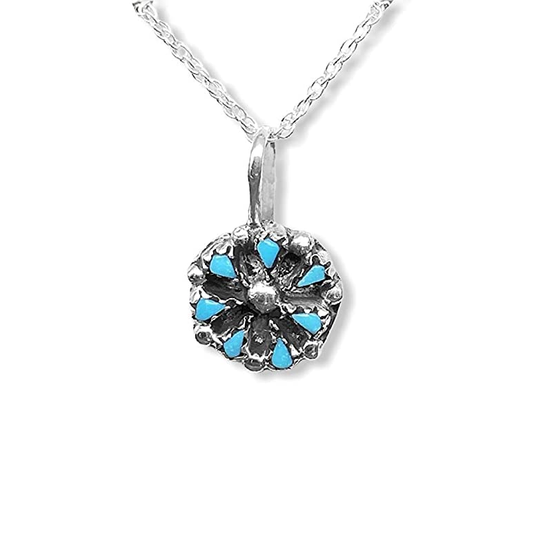 Sleeping Beauty Turquoise chips set in a silver pendant with a sterling chihuahua charm on silver chain  NNP042