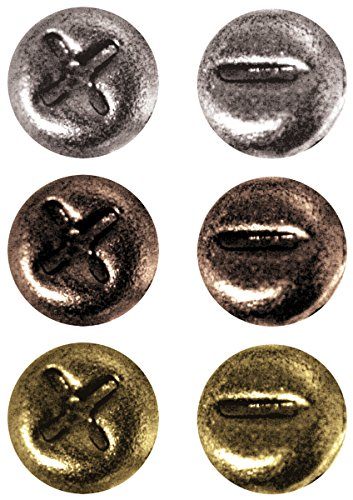Brads Metal Scrapbooking (Metal Mini Fasteners by Tim Holtz Idea-ology, 99 per Pack, 1/4 Inch, Antique Finishes, TH92790)