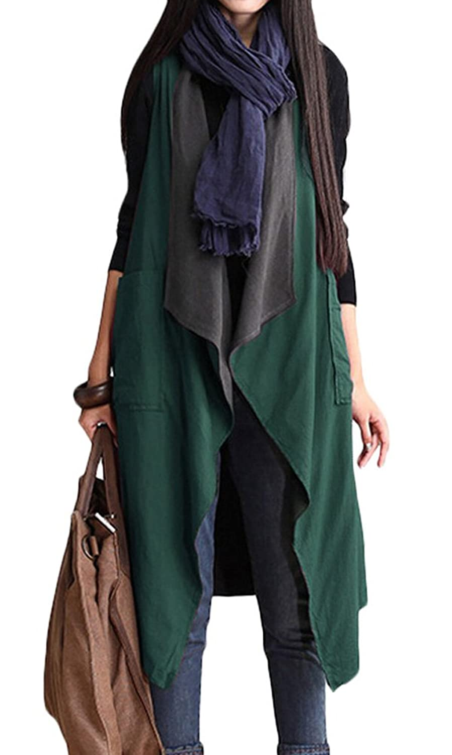Vogstyle Women's Sleeveless Front Opening Vest Coat Snap Cardigan