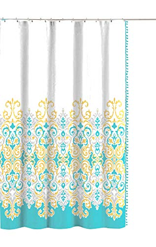 - Sicily Collection Decorative Floral Fabric Shower Curtain: Elegant Style Blue Yellow White with Pom Pom Side Fringe