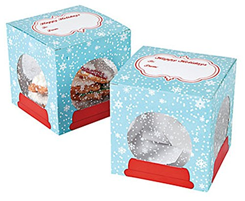 Set of 12 Snowflake Snow Globe Cookie Dessert Bakery Square Holiday Christmas Boxes ~ 3.5