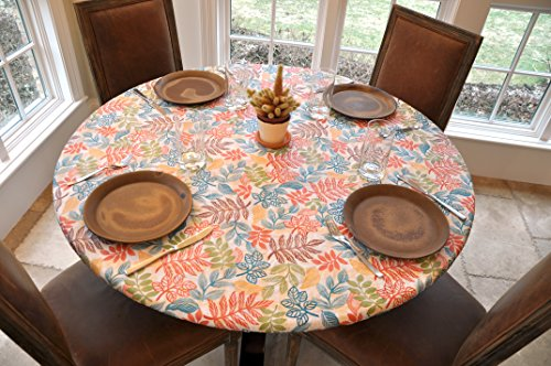 Elastic Edged Flannel Backed Vinyl Fitted Table Cover - BOTANICAL Pattern - Small Round - Fits tables up to 44