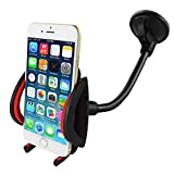 Car Mount,SAUS Universal Long Arm/neck 360°Rotation Windshield Car Mount Cradle Holder System For iPhone 6S 6S Plus 5S,iPod Touch,Samsung Galaxy S6 S6 Edge S5,Nokia,Motorola,Blackberry,HTC (Black/Red)