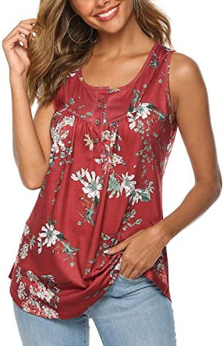 FZ FANTASTIC ZONE Women's Summer Sleeveless Button Up Casual Loose Tank Tops Tunic Shirts Blouses 3