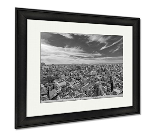 Ashley Framed Prints Aerial View Of The Old Town In Valencia From Cathedral Tower, Modern Room Accent Piece, Black/White, 34x40 (frame size), Black Frame, - Valencia Towns In
