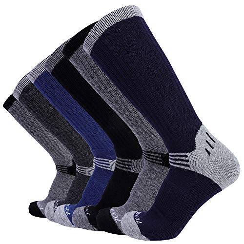 Blended Trail Mix - Enerwear 6P Pack Men's Merino Wool Blended Trail Socks (US 10-13, Mix Color)