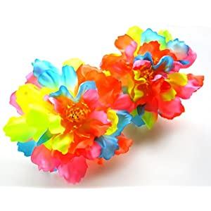 """(12) Silk Neon Rainbow Peony Flower Heads - 4"""" - Artificial Flowers Peonies Head Fabric Floral Supplies Wholesale Lot for Wedding Flowers Accessories Make Bridal Hair Clips Headbands Dress 101"""