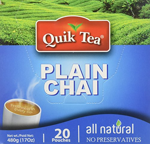 Quik Tea Plain Chai Latte Teabags Made from Assam Teas All Natural No Preservatives 20 Pouches (480 g / 17 oz)