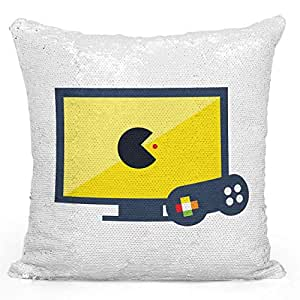 """Sequin Throw Pillow Pckman Game Lovers Famous Vintage GamePrinted White Silver Sequin - 16"""" x 16"""""""