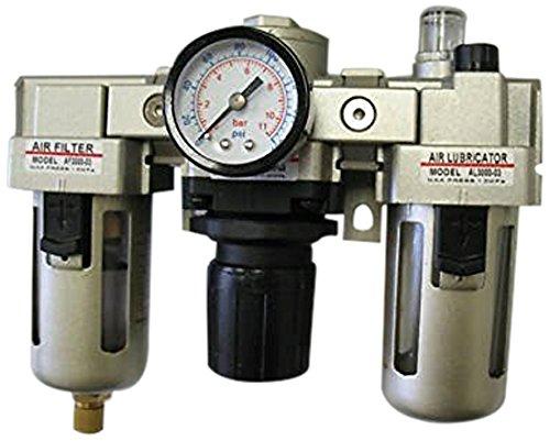 Pack of 10 MettleAir AC3000-N02 Filter//Regulator//Lubricator with Gauge 1//4 NPT 2000 L//minute