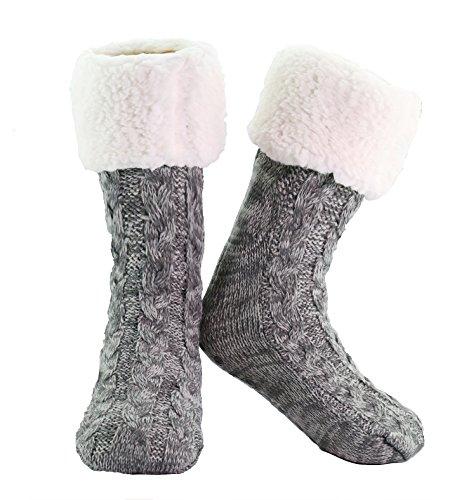 Slipper Socks Mens Womens Premium Cable Knit Unisex Super Soft Slipper...